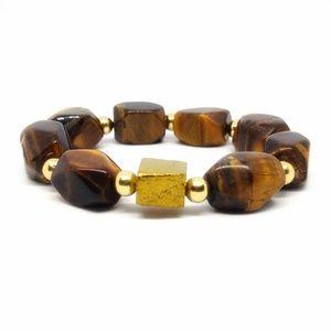 Natural tiger's eye nugget stretch bracelet